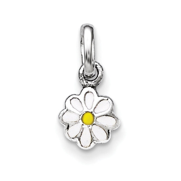 925 Sterling Silver White Enameled Daisy Flower Girls Pendant
