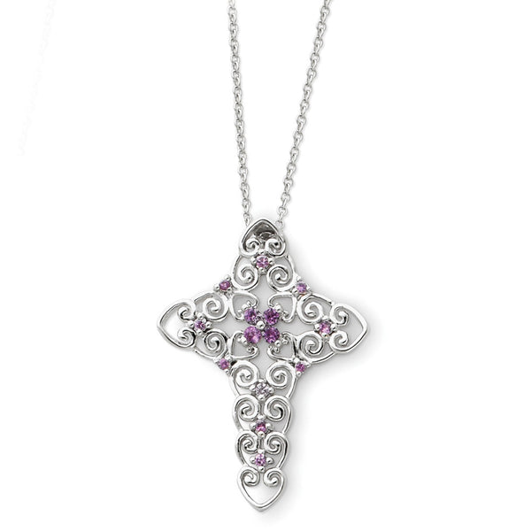 Sterling Silver June Birthstone Cross Sentimental Expressions Necklace