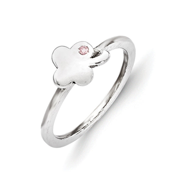 925 Sterling Silver Lucky Clover with Pink CZ Girls Fashion Ring