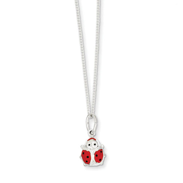 925 Sterling Silver 14 Inch Red Enamel Smiling Ladybug Girls Necklace