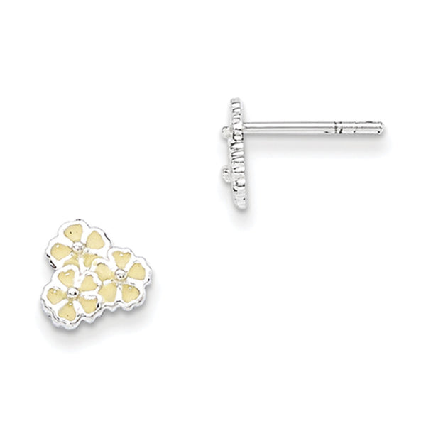 925 Sterling Silver White Enameled Floral Bundle Girls Stud Earrings