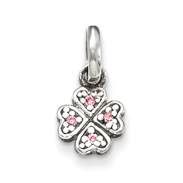 925 Sterling Silver Pink CZ Stone Cloverheart Girls Pendant