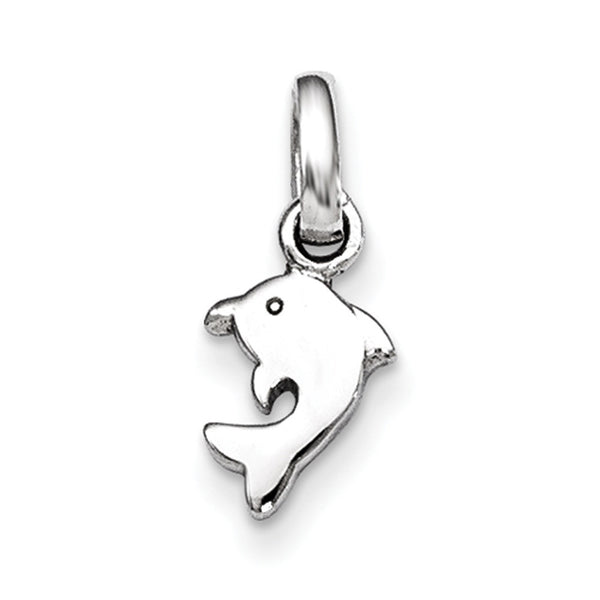 925 Sterling Silver Rhodium Plated Curled Dolphin Girls Pendant
