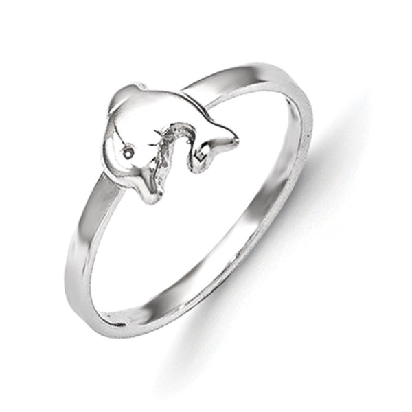 925 Sterling Silver Rhodium Plated Curled Dolphin Girls Fashion Ring