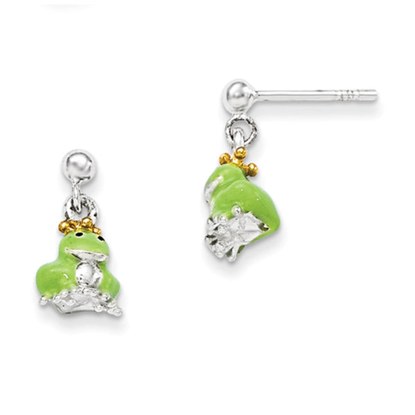 925 Sterling Silver Enameled Fairy Tale Frog Girls Dangle Earrings