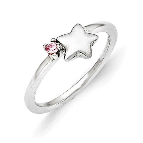 925 Sterling Silver Pink CZ Stone with Star Girls Fashion Ring