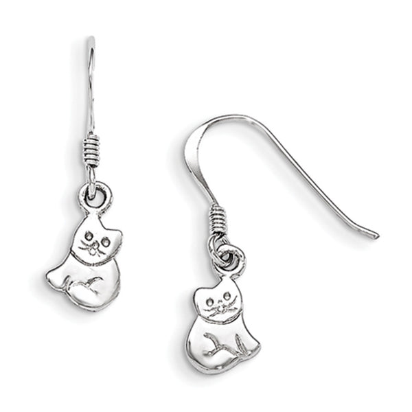 925 Sterling Silver Smooth Pretty Kitty Cat Girls Dangle Earrings