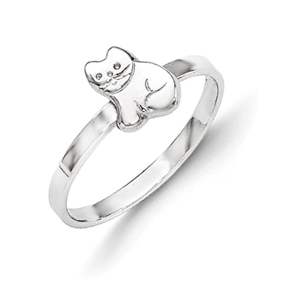 925 Sterling Silver Smooth Pretty Kitty Girls Fashion Ring