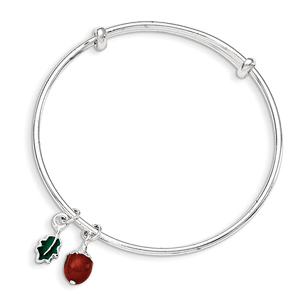 Sterling Silver Enameled Autumn Acorn and Leaf Girls Bangle Bracelet