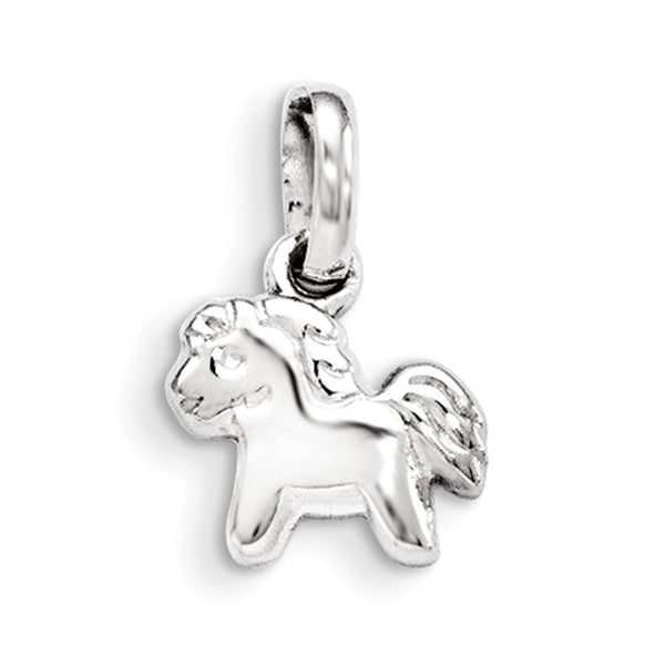 925 Sterling Silver Rhodium Plated Prancing Pony Girls Pendant