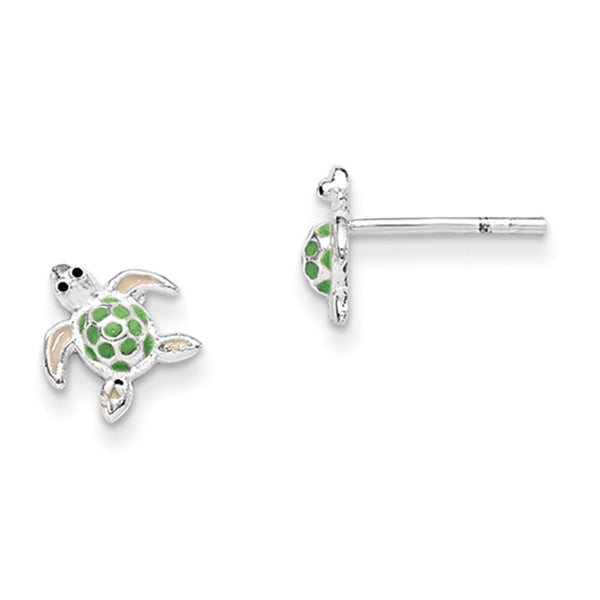 925 Sterling Silver Green Enameled Sea Turtle Girls Stud Earrings