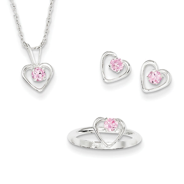 925 Silver Hollow Heart Pink CZ Girls Earrings Necklace Ring Set