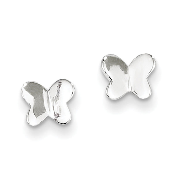 925 Sterling Silver Aerial Butterfly Girls Stud Earrings