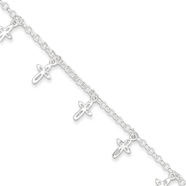 925 Sterling Silver 6 Inch Hollow Teardrop Cross Girls Bracelet