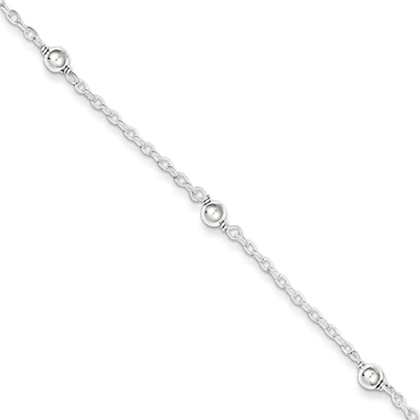 925 Sterling Silver 5 Inch Rolo Chain Reflecting Bead Girls Bracelet