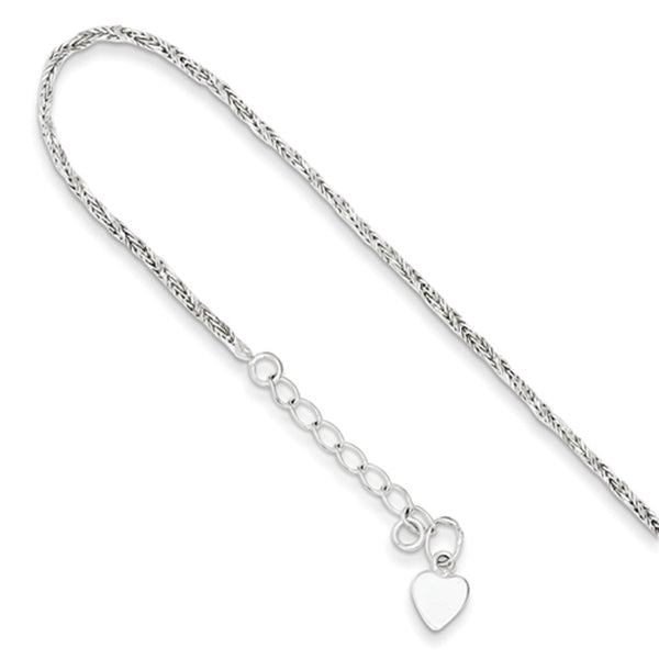 925 Sterling Silver 6 Inch Rope Chain with Heart Charm Girls Bracelet