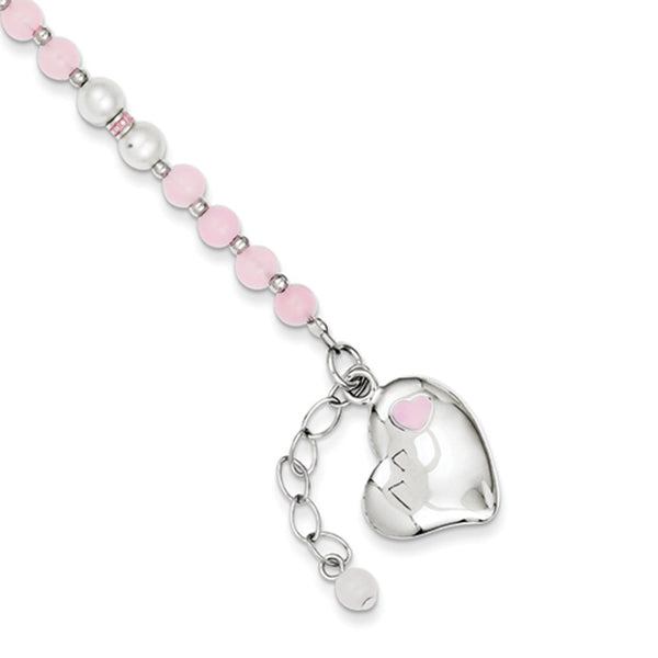 925 Sterling Silver Pink Quartz and Freshwater Pearl Girls Bracelet