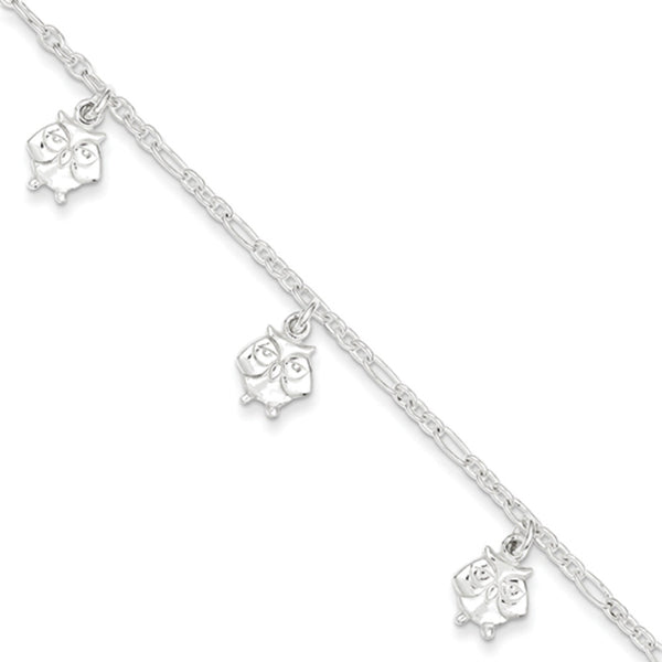 925 Sterling Silver 6 Inch Enlightened Owl Girls Bracelet