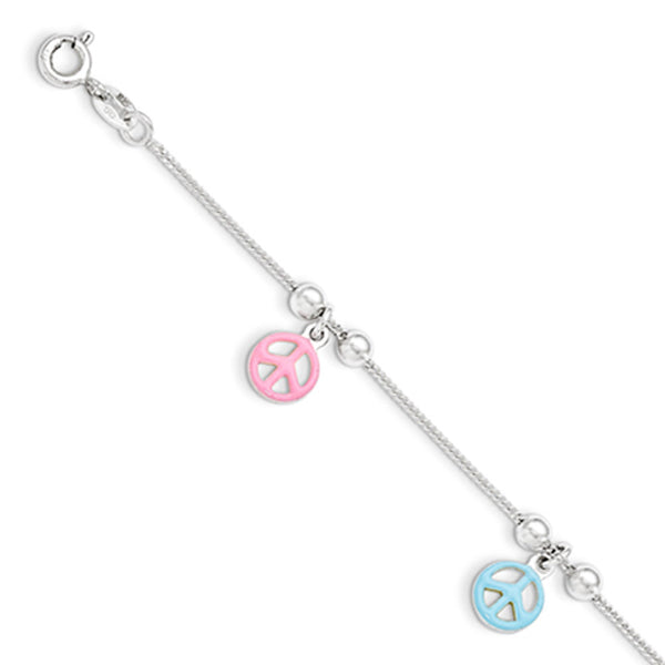 925 Sterling Silver 6 Inch Enamel Pastel Peace Signs Girls Bracelet