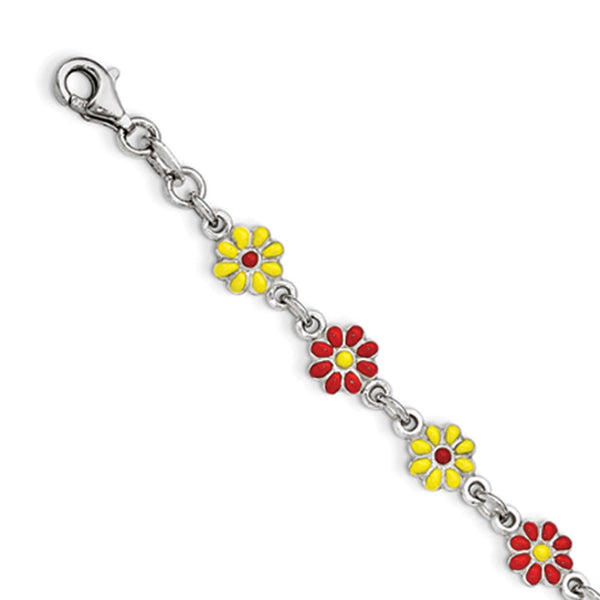 925 Sterling Silver Enameled Bright Summer Flowers Girls Bracelet