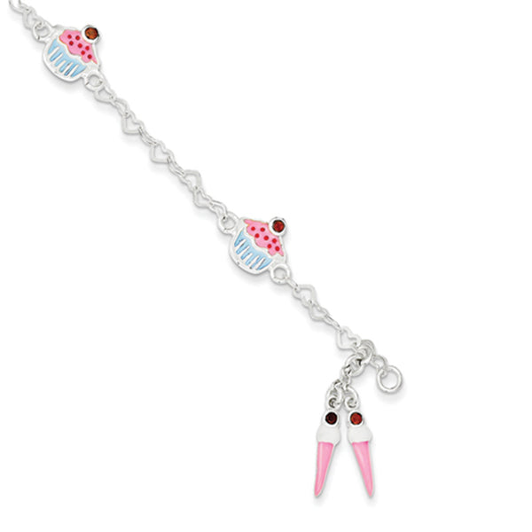 925 Sterling Silver Birthday Treats with Garnet Accent Girls Bracelet