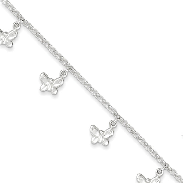 925 Sterling Silver 6 Inch Dangling Butterfly Line Girls Bracelet