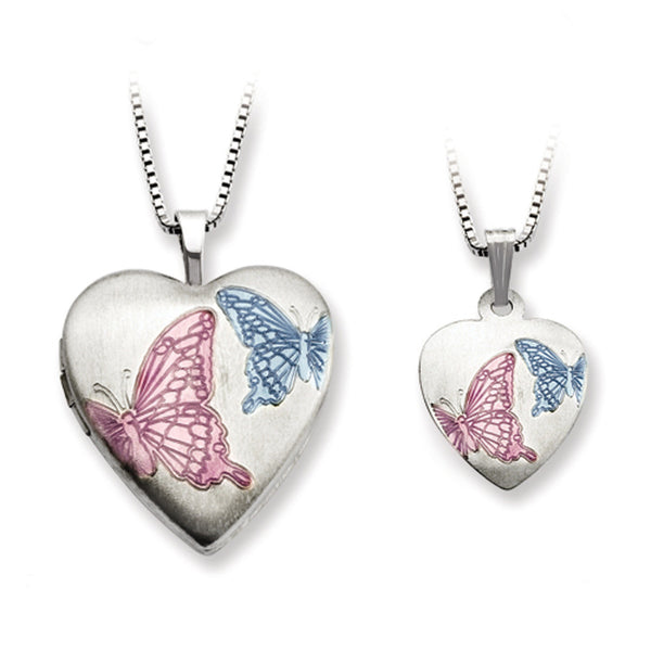 Sterling Silver Blue and Pink Butterfly Mother Daughter Necklace Set