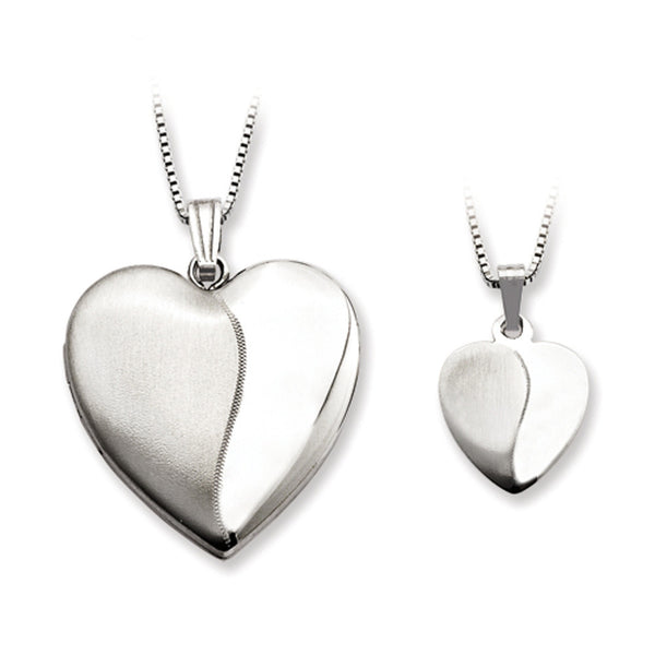 925 Sterling Silver Satin Textured Mother Daughter Necklace Set