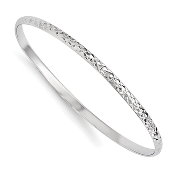 925 Silver 55mm Diameter Textured Band Girls Bangle Bracelet