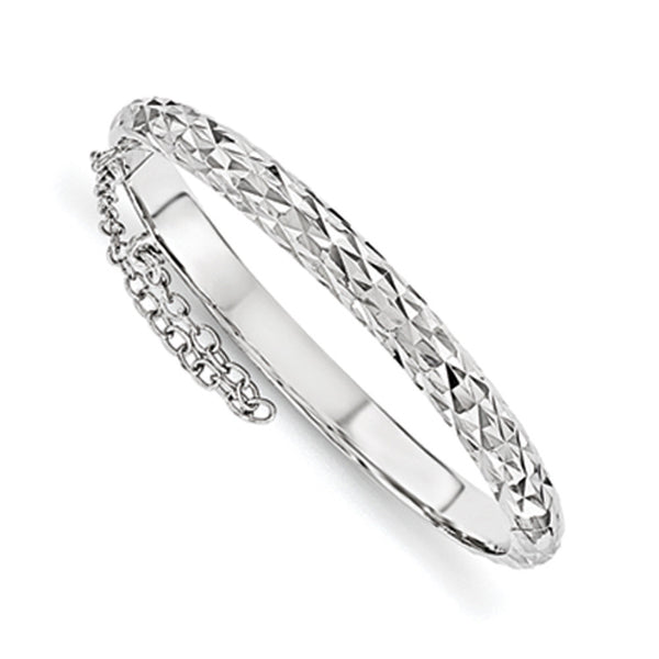 925 Silver 4.5mm 40mm Diamond Cut Safety Hinged Girls Bracelet