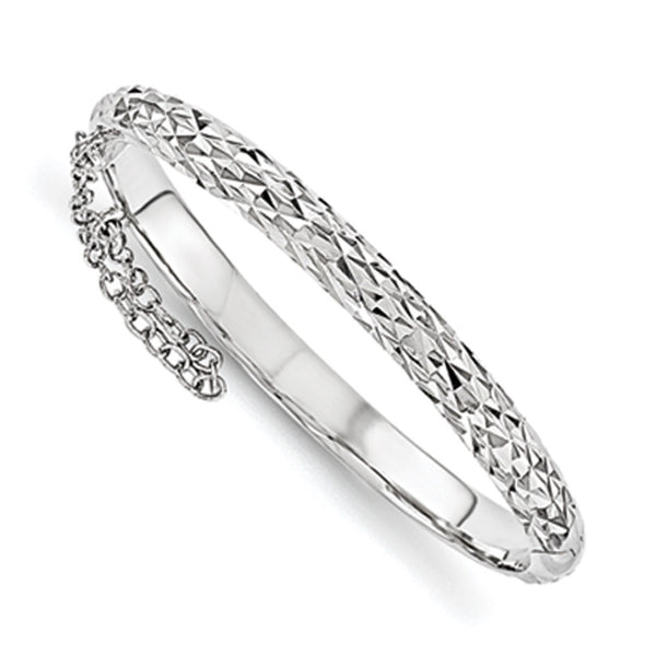 925 Silver 4.5mm 42mm Diamond Cut Safety Hinged Girls Bracelet