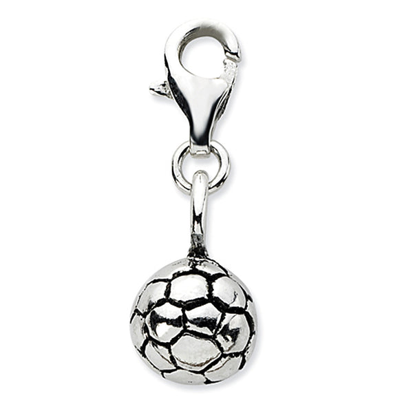 925 Sterling Silver 3D Antiqued Soccer Ball Dangling Charm