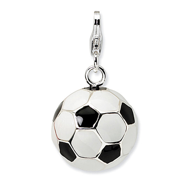 925 Sterling Silver 3D Enameled Large Soccer Ball Dangling Charm
