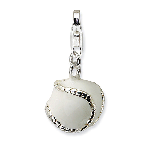 925 Sterling Silver 3D Enameled Stitched Baseball Dangling Charm