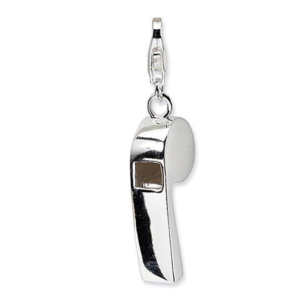 925 Sterling Silver Rhodium Plated 3D Polished Whistle Dangling Charm