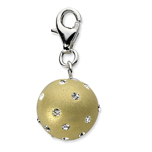 925 Sterling Silver 3D Gold Orb with Bright Crystals Dangling Charm