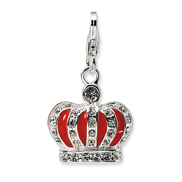 925 Silver 3D Red Enameled Crown Charm Created with Swarovski Crystals