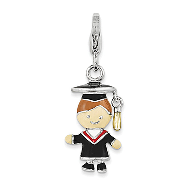 925 Sterling Silver Enameled 3-D Little Boy Graduate Clasp Charm