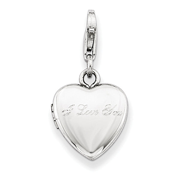 925 Sterling Silver I Love You 12mm Wide Heart Shaped Locket Charm