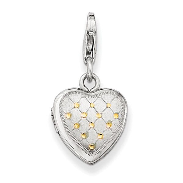 925 Sterling Silver Gold Plated 12mm Wide Heart Shaped Locket Charm