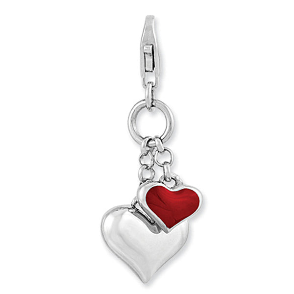 925 Sterling Silver Red Enameled Doubled Heart Lobster Clasp Charm