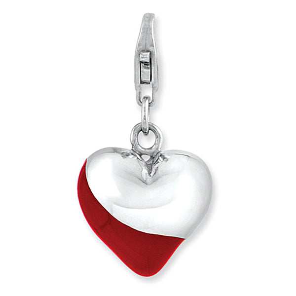 925 Sterling Silver Red Enameled Accented Heart Shaped Clasp Charm