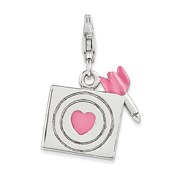 925 Sterling Silver Pink Enameled Bulls eye of Love Clasp Charm