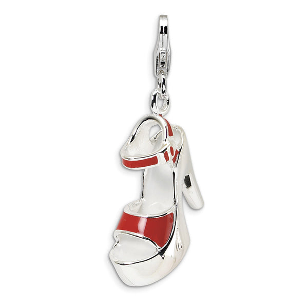 925 Sterling Silver 3D Enameled Red Platform Sandal Dangle Charm