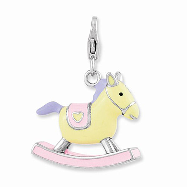 925 Sterling Silver Enameled Nursery Rocking Horse Dangle Charm