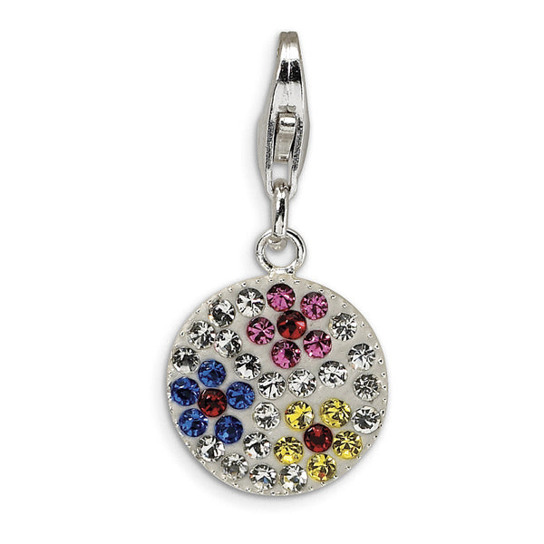 925 Multicolored Medallion Charm Created with Swarovski Crystals
