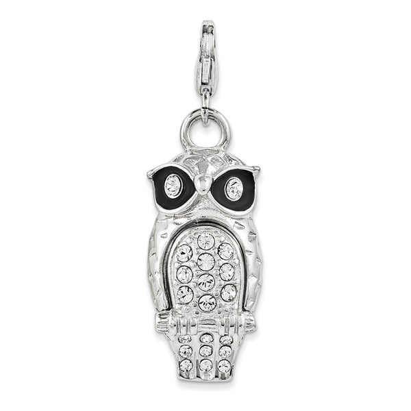 925 Silver 3D Owl Dangle Charm Created with Swarovski Crystals