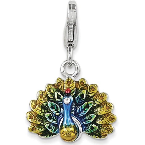 925 Sterling Silver 3D Enameled Spiritual Peacock Dangle Charm