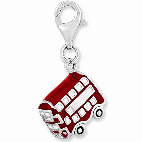 925 Sterling Silver 3D Red London Double Decker Bus Dangle Charm
