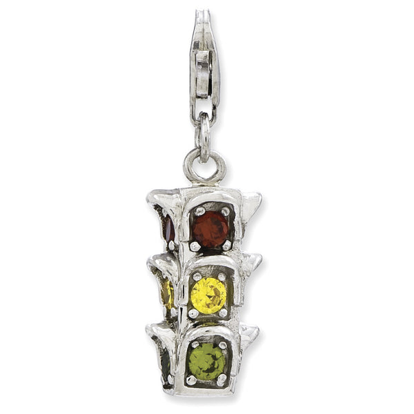 925 Sterling Silver 3D Cubic Zirconia Traffic Light Dangle Charm